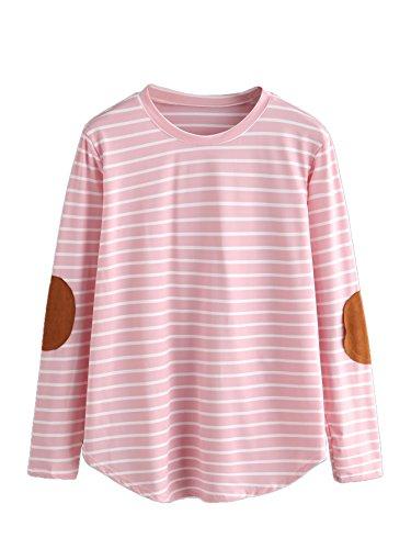 Pink Striped Shirt (Verdusa Women's Casual Long Sleeve Top Round Neck Striped T-Shirt Pink XL)