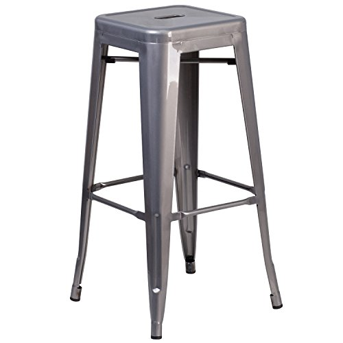 High Square Backless Metal - Flash Furniture 30'' High Backless Clear Coated Metal Indoor Barstool with Square Seat