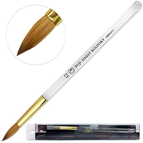 Fuji Finest Kolinsky100% Pure Kolinsky Acrylic Nail Brushes (Round Shape Acrylic Handle) (Size # 12)