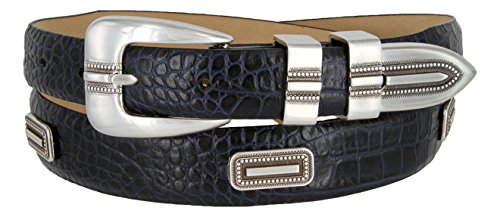 Silver Vincente Genuine Italian Calfskin Leather Conchos Dress Belt (Alligator Navy, 52)
