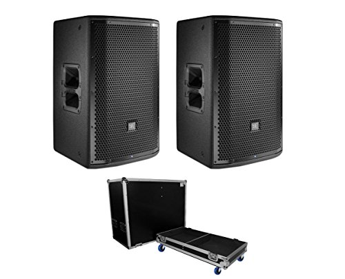 2x JBL PRX812W PRX 812 1500 Watt Powered 12'' Active Speaker + ATA Case w/Wheels by JBL