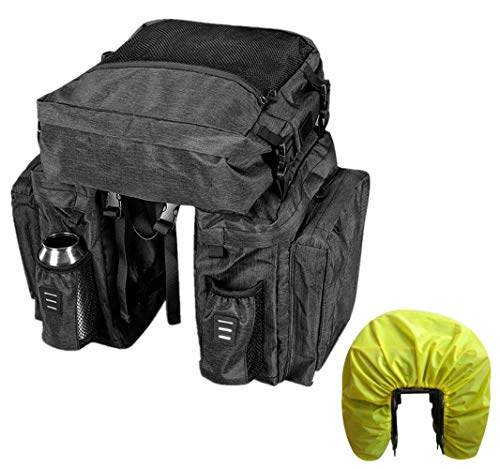 Bike Pannier Bag Water Resistant Bicycle Rear Seat Bag Large Capacity, 3 in 1 Bicycle Pannier Bag for Touring with Rain Cover