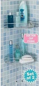 Fijación con ventosa sin tornillos estantes para esquina cromado para baño