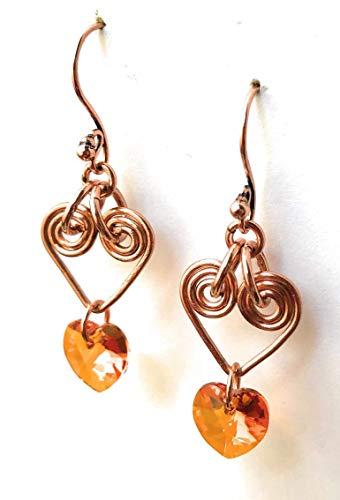 - Crystal Valentine Heart Dangle Earrings - Handmade Rose Gold Copper, Wire Wrapped Earrings - Heart Drop Earrings - Valentine's Day Gift, Mother's Day Gift, Birthday Gift, Gift for Women, Gift for Wife