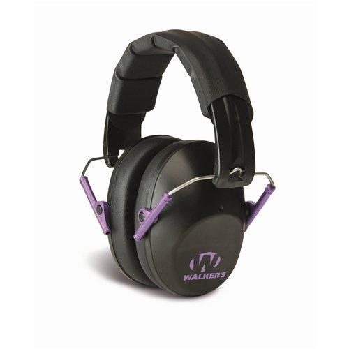 GSM Outdoors GWP-FPM1-BKPU Walkers Game Ear Pro-Low Profile Folding Muff, Black/Purple