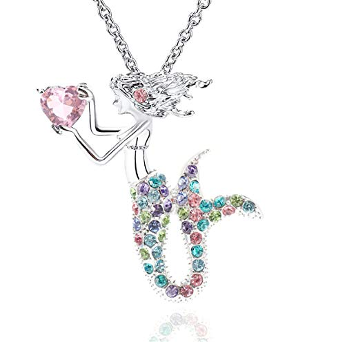 Gmhkonw Mermaid Necklace Austrian Crystal Magic Pendant Necklace for Women Girls (Colorful)