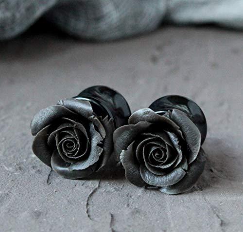 Black rose ear plug Flower gauge earrings Gothic wedding tunnel taper floral Halloween 3mm 4mm 5mm 6mm 8mm 10mm 12mm 14mm 16mm 18mm 20mm Handmade stretcher Evening 8g 6g 4g 2g 0g 00g