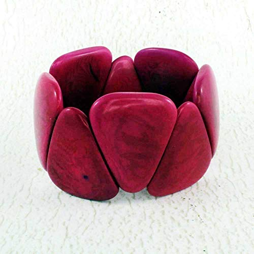 Chunky Colorful Stretch Bracelet made of Tagua Nut
