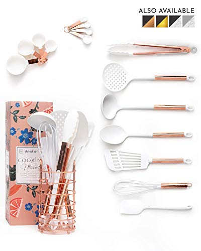 White and Rose Gold Cooking Utensils Set with Holder - 16-Piece Kitchen Utensil Set with Holder Includes White and Copper Measuring Cups and Spoons : Rose Gold Utensil - Roses Kitchen