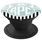 RPC Monogram Pop Socket Blue Damask Initials RPC or RCP - PopSockets Grip and Stand for Phones and Tablets