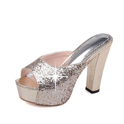 Bloquear 5 5 Mirar Sandalias Zapatillas eur38uk55 Nocturno Lentejuelas Del Zapatos 38 Club Furtivamente Nvxie Alto Dedo Negro Pie Mujer Tacón Elegante Fornido Gold Eur uk FBq1CwC05