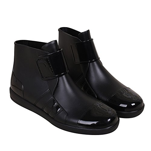 Hombre Cortas Botas de Agua Goma Seguridad Trabajo Zapatos Para Lluvia Negro 40