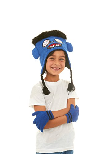 Polar Wear Boys Animal Hat & Glove Set 1 Ply Knit w/ Fleece Lining Hat -