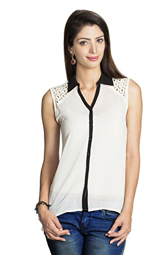 MOHR Women's Shirt with Lace Embellishment X-Large Off White by MOHR - Colors of India