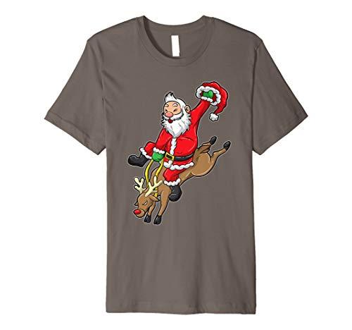 Cowboy Santa T-Shirt Reindeer Rodeo Christmas In Texas Tee