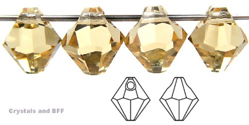 Machine Cut Bicone - 6mm Light Colorado Topaz, Czech Machine Cut Top Drilled Bicone Pendant (6301 Shape), 12 pieces