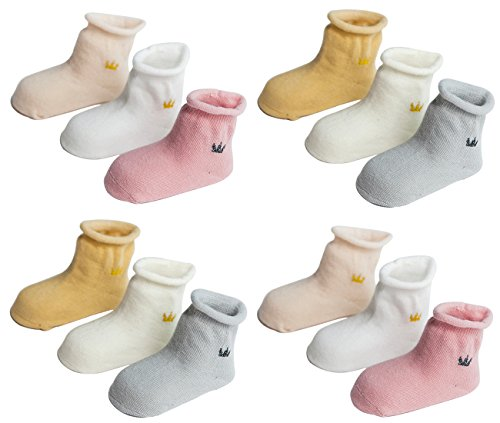 LUXEHOME (YR1621) Elegant Crown Style Baby Toddler Cotton Socks, 12 Pairs per Pack