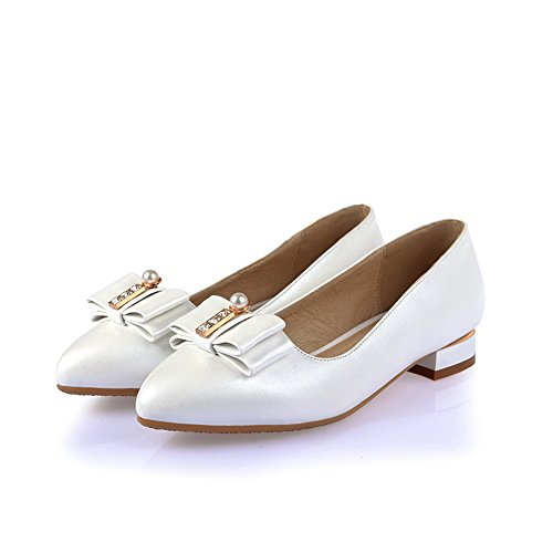 BalaMasa da donna low-heels round-toe Pull-On Bowknot metallo gomma pumps-shoes, Bianco (White), 35