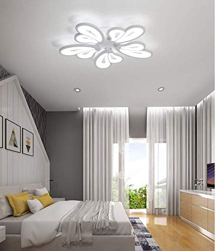 Petals 5 Light Chandelier - LITFAD 5 Heads Heart Shape Semi Flush Light LED Ceiling Light Fixture Chandelier 110-120V 65W Modern Acrylic Ceiling Lamp with White Metal Canopy for Living Room Bedroom Restaurant - White Light