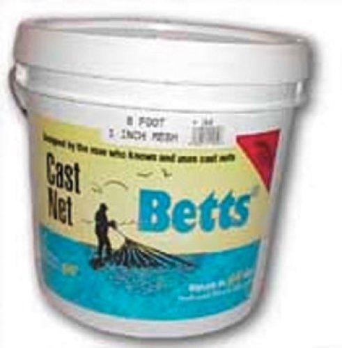 Betts 18-6 Mullet Cast Net, Mono, 6-Feet, 1-Inch Mesh, 1.2-Pound Lead per Ft Bucket
