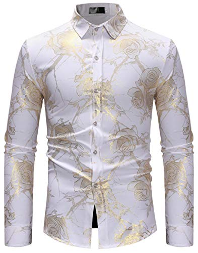 (HOP Fashion Mens Rose Print Shirt Luxury Gold Design Long Sleeve Slim Fit Button Down Shirts HOPM307-White-S)