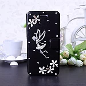 Mini - DIY Angel and Lucky Flowers with Rhinestone Pattern Leather Case with Stand for iPhone 6(Black)