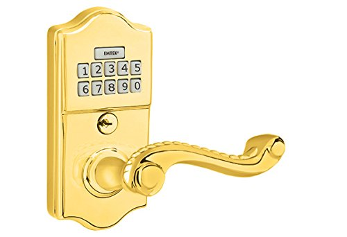Emtek E2000 American Heritage Classic Brass Leverset keypad 3 finish options and 11 lever options (Indicate Left or Right Handed) (Rope Lever, Polished Brass (US3))