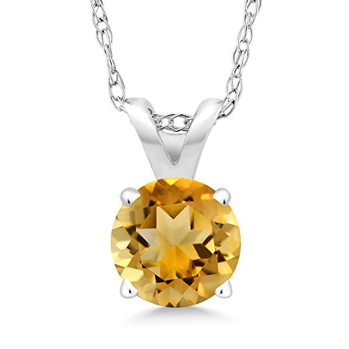 Gold Round Citrine Pendant (0.70 Ct Round Yellow Citrine 14K White Gold Pendant With Chain)