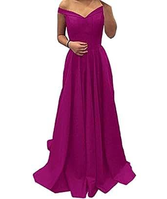 SABRridal Womens V Neck Satin Off Shoulder Evening Dress US10 Fuchsia