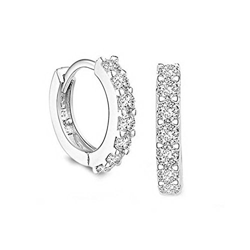 LLNF Platinum Plated Clear Cubic Zircon Huggie Hoop Earring for Women Girls