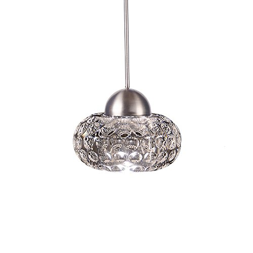 WAC Lighting MP-LED334-CL/BN LED Crystal 1-Light Gem LED Pendant with Canopy Mount, Brushed Nickel (Crystals Monopoint Pendant)