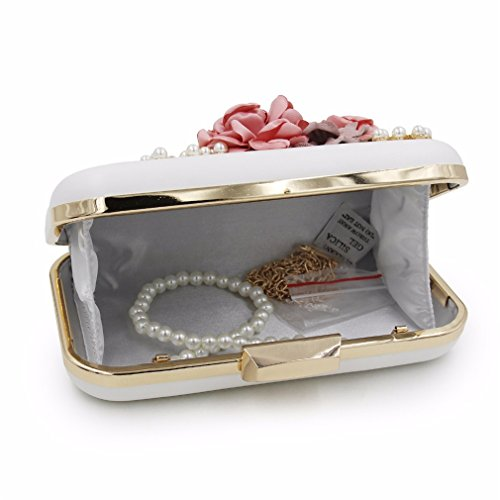 Tanling Bag Royal Clutches Women Purse Ladies Evening Party Pearl Clutch Blue Wedding With Chain Black Day Flower BUwq8rB