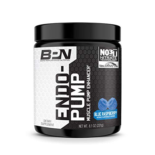 Bare Performance Nutrition, Endo Pump Muscle Pump Enhancer, L-Citrulline, NO3-T Betaine Nitrate & VasoDrive-AP Hydrolyzed Casein Tripeptides (30 Servings, Blue Raspberry)