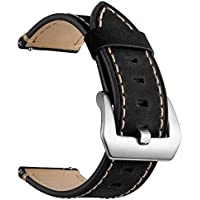 Leather Band for Galaxy Watch 46mm for Women Men, SUKEQ 22mm Leather Replacement Strap Buckle Wrist Band Sport Bracelet Accessories for Samsung Gear S3 Frontier/Classic (Black)