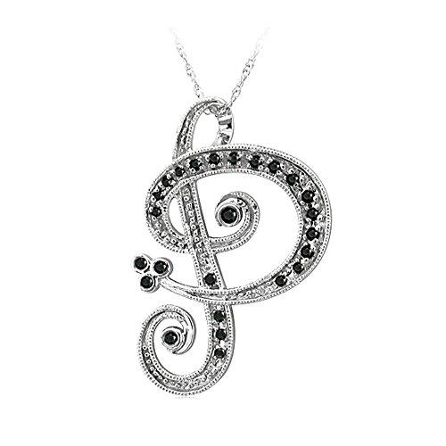 14k White Gold Alphabet Initial Letter P Black Diamond Pendant Necklace-0.15 carat