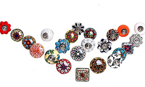 Assorted Ceramic Cabinet Door Wardrobe knobs Kitchen Cabinet knobs Drawer pulls Shabby Chic Indian Handpainted (Set of 20)