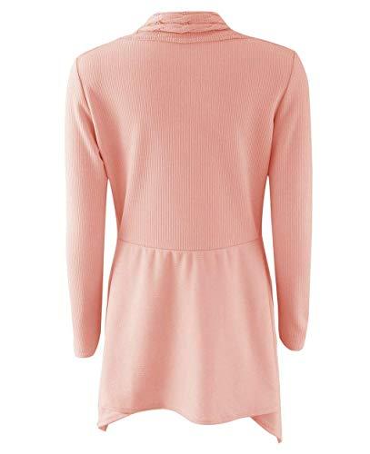 Lunga Casual Eleganti Cappotto Maglia Pink Moda Outwear A Giacca Asimmetrico Giacche Comodo Stlie Autunno Pastello Unique Donna Pullover Knit Manica Invernali pxqF5wEXw