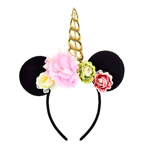 A Miaow Flower Headband Unicorn Headpiece Mickey Mouse Ears Costume Minnie Hair Hoop Halloween Part -