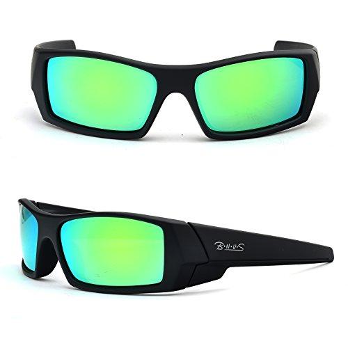 BNUS Unisex Ranger Rectangular Sports Polarized Sunglasses shade for men women Italian made Corning natural glass lenses green Mirrored (Frame: Matte Black / Lens: Green Flash, - Italy Sunglasses
