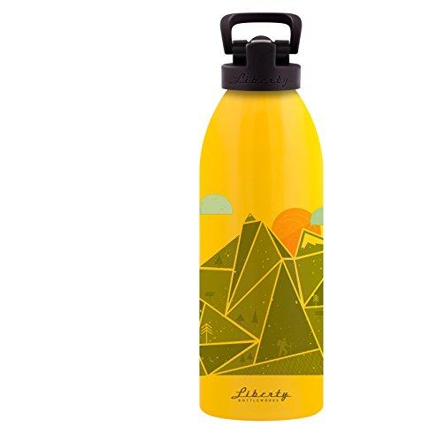 Liberty Bottleworks Switchback Aluminum Water Bottle, Made in USA, 32oz, Saffron, Sport Cap