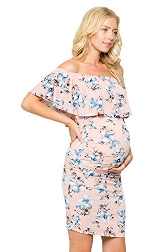 My Bump Women's Ruffle Off-Shoulder Maternity Dress W/Side Sharing(Made in USA) (Medium, Pink OJAB)