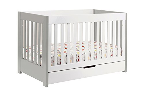 Babyletto Mercer 3-in-1 Convertible Crib with Toddler Bed Conversion Kit, Grey / White -  M6801GW