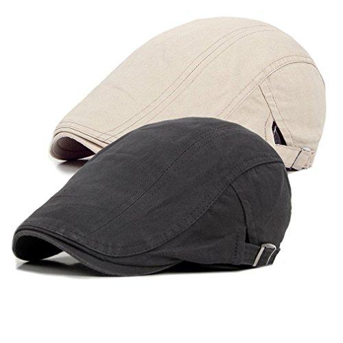 Bigface Up Pack of 2 Men's Cotton Flat Cap Ivy Cabbie Driving Hat Hunting Newsboy Cap (Beige+Gray)