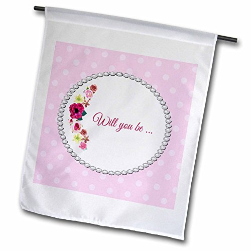 Beverly Turner Wedding Attendant and Bridal Party - Roses of Pink and Red in Oval Pearl Look Frame on Dots, Will you be - 12 x 18 inch Garden Flag (Attendant Mug)