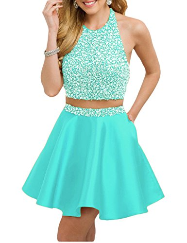 Sexy 2 Piece Halter (Favors Women's Halter Beaded Two Piece Homecoming Dress Sexy Prom Dress Tiffany Blue 2)