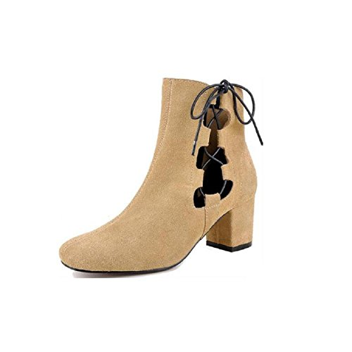 Fashion Hollow Boots Frosted Leather Boots Breathable Woman's Boots YELLOW-38