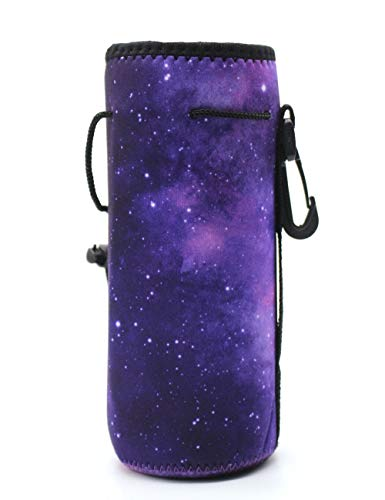 20 Oz Bottle Tote - Wanty Neoprene 20 Oz Insulated Water Drink Bottle Cooler Carrier Cover Sleeve Tote Bag Pouch Holder Strap for Climbing Cycling and Running Outdoor Activities (Purple Sky)