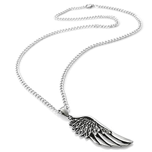 Stainless Steel Wing Necklace Pendant Necklace for Men 24 Inch