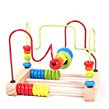 Vellhater Cute Circles Bead Abacus Wire Maze Roller Coaster Wooden Kids Educational Toy