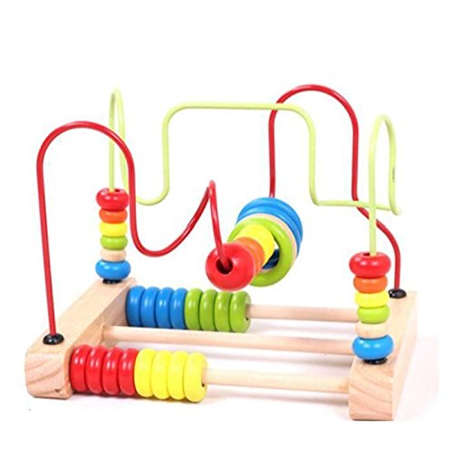 Vellhater Cute Circles Bead Abacus Wire Maze Roller Coaster Wooden Kids Educational Toy by Vellhater